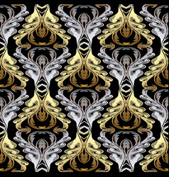 baroque gold silver seamless pattern vector image