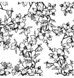 beautiful sketchy magnolia twigs seamless vector image