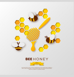 bee with honeycombs and dipper paper cut ctyle vector image
