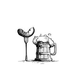 Beer mug oktoberfest festival holiday decoration vector