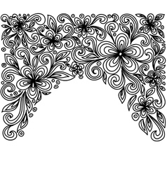 Black and white lace flowers and leaves vector image