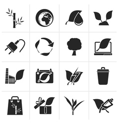 Black Environment and Conservation icons vector image