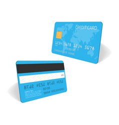 Blue credit card template vector