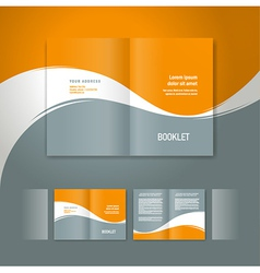 Booklet design template white curve line orange vector
