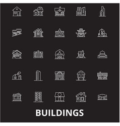 buildings editable line icons set on black vector image