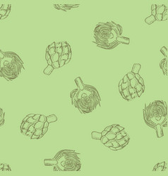 Calligraphy artichoke seamless greenpattern vector