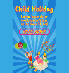 Child holiday concept banner comics isometric vector