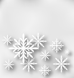 Christmas greeting card with paper snowflakes vector image