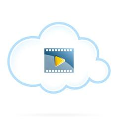 Cloud Movie Storage Icon vector