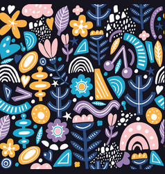 collage style seamless pattern with abstract and vector image
