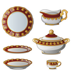 Collection of plates tureens cups jug for cream vector