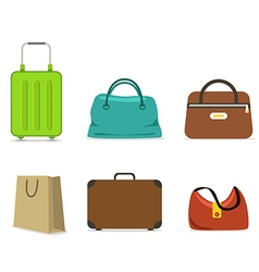 Color travel bags collection isolated on white vector