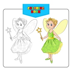 Coloring book fairy vector