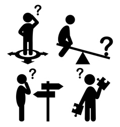 Confusion People with Question Marks Flat Icons vector image