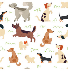 cute dogs pattern animal seamless background vector image