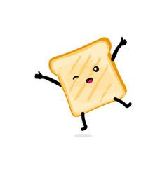 Cute happy cartoon funny toast icon smiling toast vector