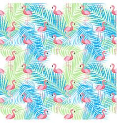 Cute retro seamless flamingo pattern background vector