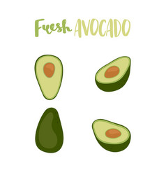 cute set with cartoon half avocado and whole vector image