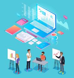 Digital analytics people set vector