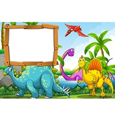 Dinosaurs at the lake vector