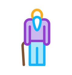 elder man stick icon outline vector image