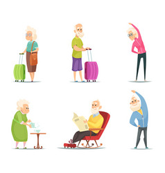 elderly couples in various action poses vector image