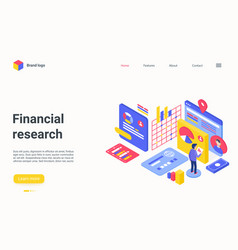 financial research isometric landing page vector image