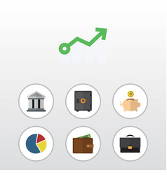 Flat icon finance set of strongbox graph money vector