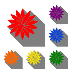 flower sign set of red orange yellow green vector image