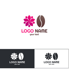flowers coffee logo one vector image