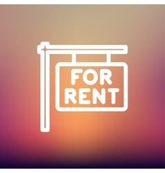 For rent placard thin line icon vector