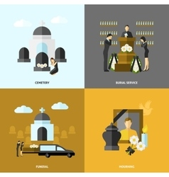 Funeral Flat Set vector image