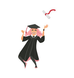 Girl in graduation cap and gown throws diploma up vector