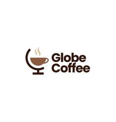 Globe coffee logo icon vector