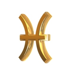 Golden zodiac sign pisces vector