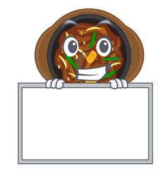 Grinning with board bulgogi is served on mascot vector