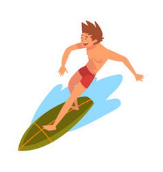 guy riding on ocean wave male surfer character in vector image