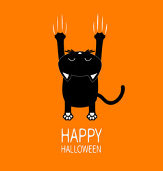 Happy halloween greeting card cartoon black cat vector