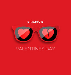 Happy valentines day red hipster glasses vector