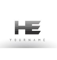 he h e black and white horizontal stripes letter vector image