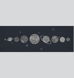 Horizontal banner with planets of solar system vector