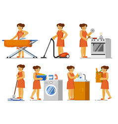 house chores set housewife doing work vector image