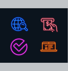Internet search verify and atm service icons web vector