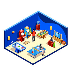 Isometric people at recreation room vector