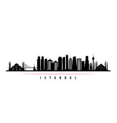 istanbul city skyline horizontal banner black and vector image