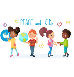 Kids and peace concept girl with white dove in vector