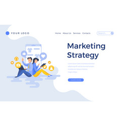Landing page template marketing strategy concept vector