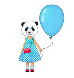 little fashion panda girl dressed up in dress vector image