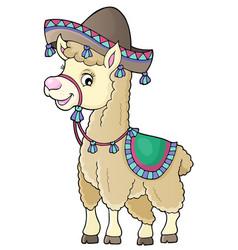 Llama in sombrero theme 1 vector