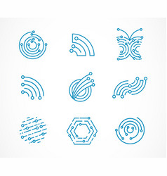 Logo set - technology tech icons and symbols vector